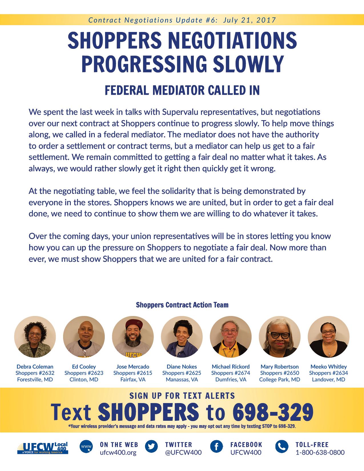 Shoppers Negotiations Progressing Slowly