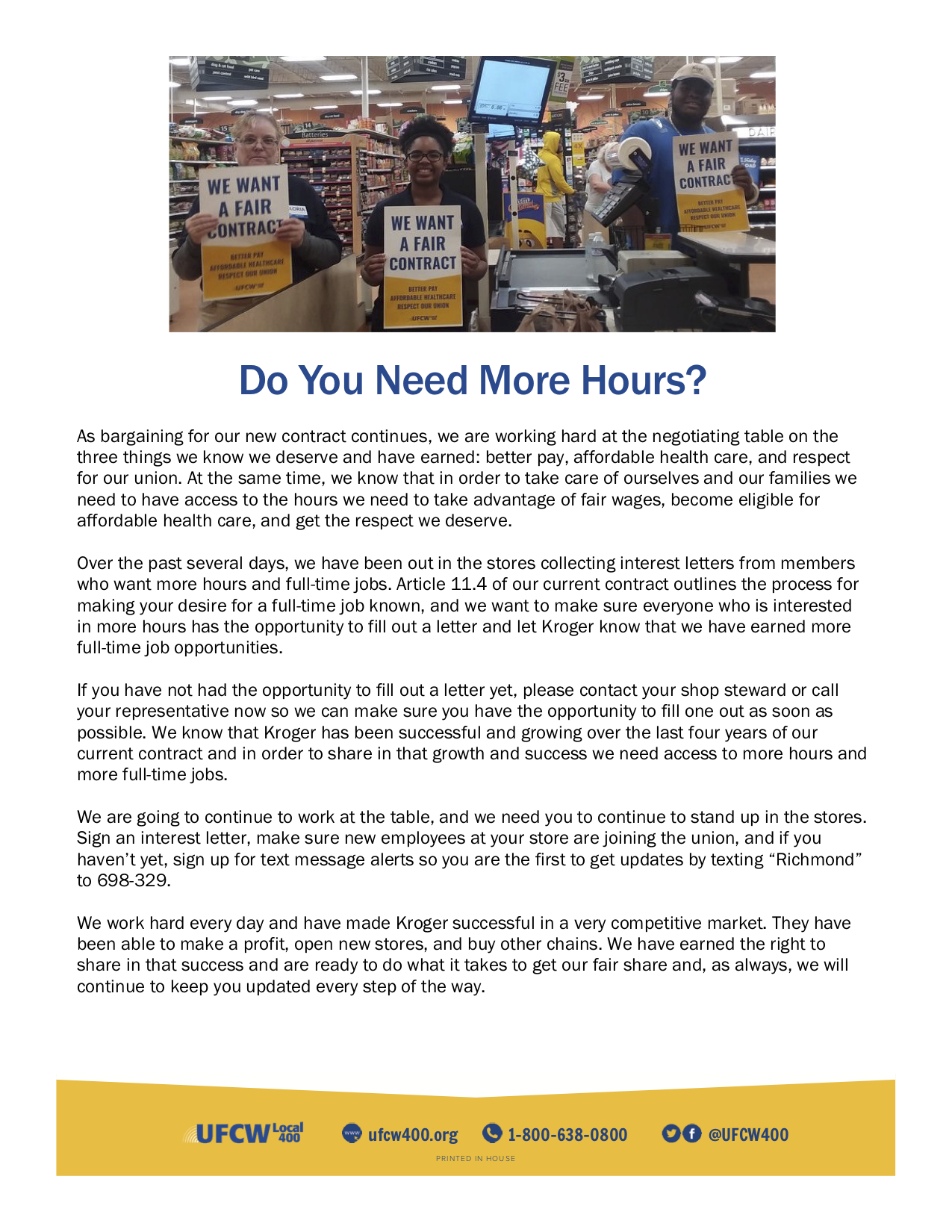Kroger Richmond/Tidewater Bargaining Update: Do You Need More Hours?