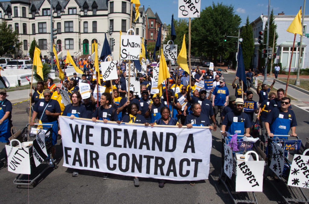 Members, Allies, Elected Officials March and Rally For Fair Contracts at Giant and Safeway
